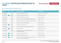 Calendrier République Démocratique du Congo