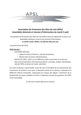Association de Protection des Sites de Loix (APSL) Assemblée