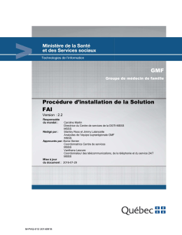 Procédure d`installation de la Solution FAI GMF