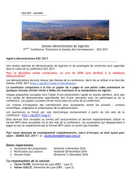 Appel à communications Démonstrations de logiciels EGC 2017