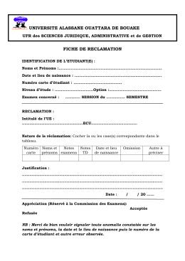 Télécharger le formulaire - ufr sjag-uao