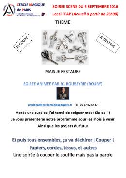 Détail en pdf ICI - Cercle Magique de Paris
