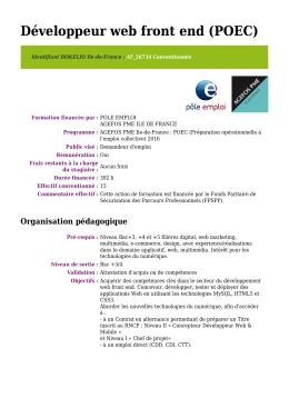 Développeur web front end (POEC)