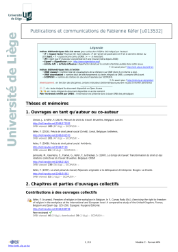Publications et communications de Fabienne Kéfer [u013532]