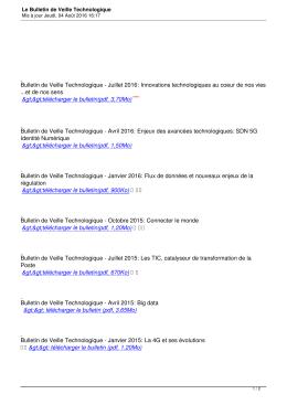 Le Bulletin de Veille Technologique