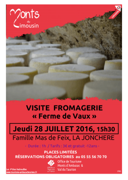 VISITE FROMAGERIE Jeudi 28 JUILLET 2016, 15h30