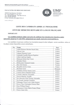 Liste des candidates admis au programme d
