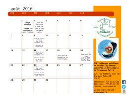 août 2016 - Bibliothèque publique de Nipissing Ouest
