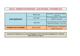 9h15-11h 11H-12H 14H-15H VENDREDI 09 SEPTEMBRE 9h15