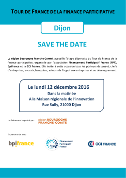SAVE THE DATE Dijon - Financement Participatif France