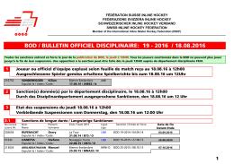 BOD 19-2016 - Fédération Suisse de Inline Hockey