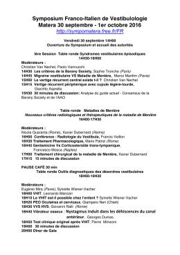Télécharger le pré-programme de la séance plénière