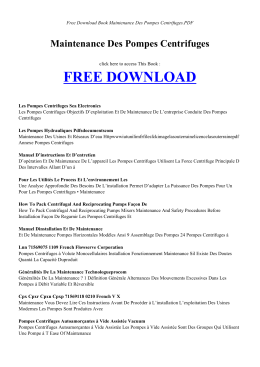 MAINTENANCE DES POMPES CENTRIFUGES | Free