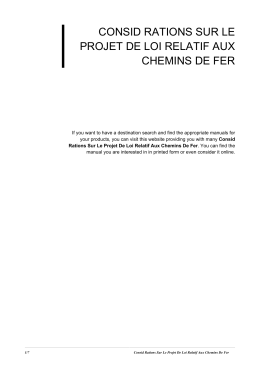 Consid Rations Sur Le Projet De Loi Relatif Aux Chemins De Fer