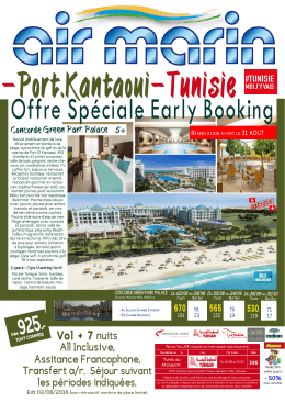 Offre Spéciale Early Booking