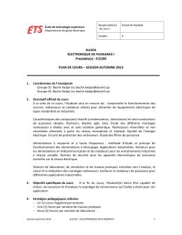 ELE355 ÉLECTRONIQUE DE PUISSANCE I Préalable(s) : ELE200