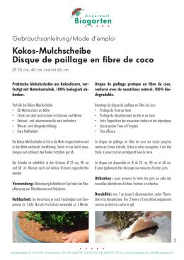 Kokos-Mulchscheibe Disque de paillage en fibre de coco