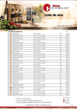 Liste de vins