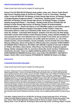 Cedar shoals high school ap bio chapter 20 reading guide