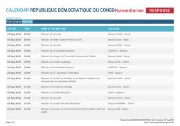 Calendar République Démocratique du Congo