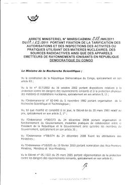 Arrêté Ministeriel portant fixation de la tarification des
