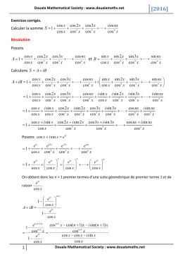 Calculer la somme cos cos2 cos3 cos 1 cos cos cos cosn x x x nx S
