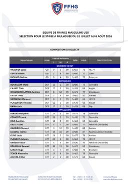 Sélection U18 Masculin Mulhouse 31 juillet