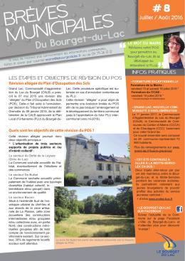Brèves Municipales - Le Bourget-du-Lac