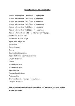 Liste complète CE1 Antecki
