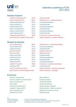 Calendrier de la FLSH-Année académique 2017-2018