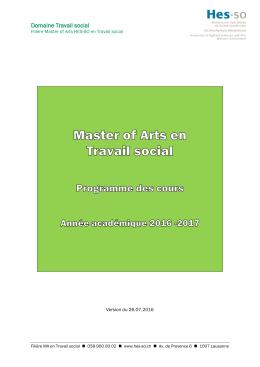 Programme des cours 2016-2017 - HES-SO