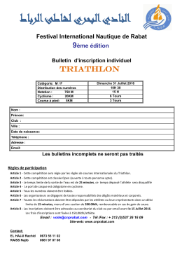 Bulletin d`Inscription - Club Nautique De La Plage De Rabat