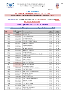 Liste d`attente 2 - Faculté des Sciences et Techniques de Fès