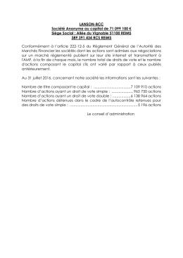 LANSON-BCC Société Anonyme au capital de 71 099 100 € Siège