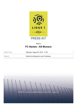 PRESS KITFC Nantes - AS Monaco - Ligue 1