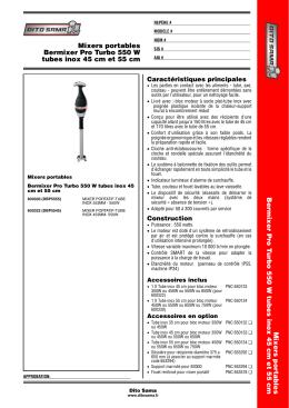 Bermixer Pro Turbo 550 W tubes inox 45 cm et 55 cm