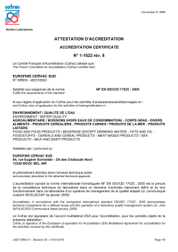 ATTESTATION D`ACCREDITATION N° 1-1822 rév. 8