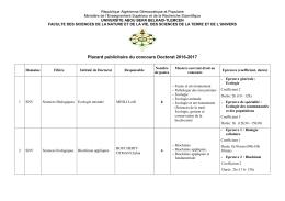 Placard publicitaire du concours Doctorat 2016-2017