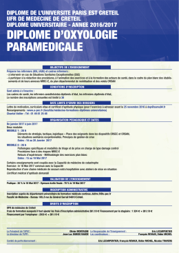 diplome d`oxyologie paramedicale
