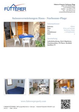 Saisonvermietungen Haus - Narbonne-Plage