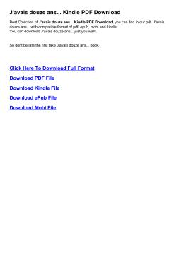avais douze ans... Kindle PDF
