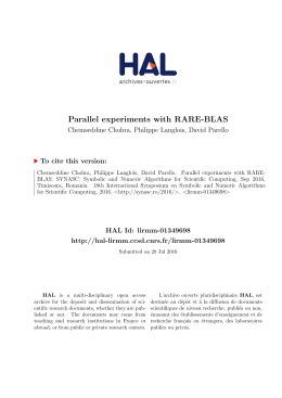 Parallel experiments with RARE-BLAS - Lirmm