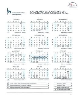 calendrier 2016-2017 - École du Tourne-Vent