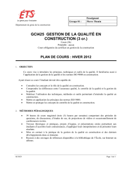 GCI425 GESTION DE LA QUALITÉ EN CONSTRUCTION (3 cr.)