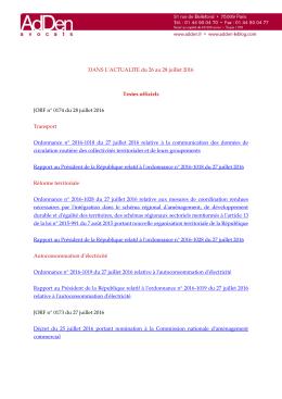 Lire l`actualité du 26 au 28 juillet 2016 - AdDen avocats
