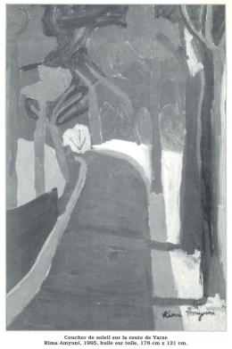 Coueher de solei! sur la route de Yarze Rima Amyuni, 1995, huile
