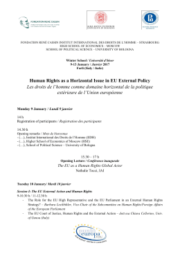 Human Rights as a Horizontal Issue in EU External Policy Les droits