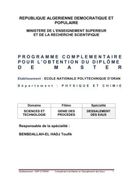 Dessalement des Eaux - École Nationale Polytechnique d`Oran
