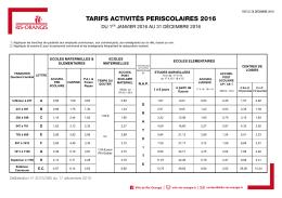 tarifs activités periscolaires 2016