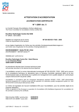 ATTESTATION D`ACCREDITATION N° 1-2091 rév. 5